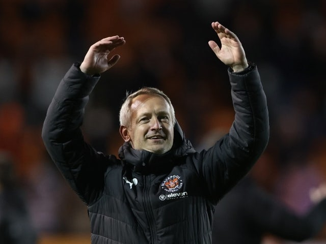 Blackpool manager Neil Critchley celebrates after the game against Oxford on May 21, 2021