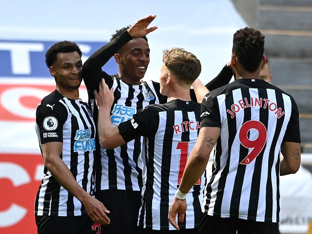 Newcastle United's Joe Willock celebrates a goal against West Ham United in the Premier League on April 17, 2021