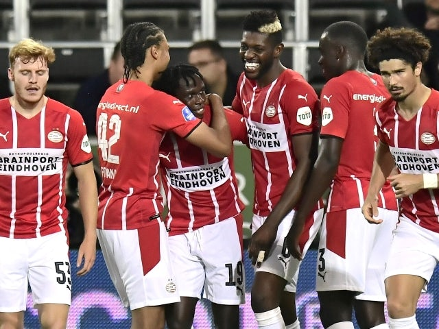 PSV Eindhoven's Bruma will celebrate his first goal against FC Midtjylland on August 10, 2021