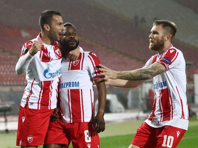 Red Star Belgrade's Guelor Kanga celebrates with his teammates after his goal against Ghent on November 5, 2020