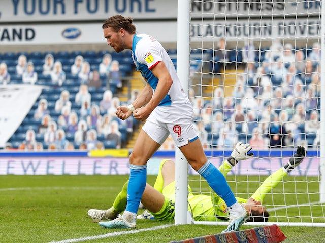 Sam Gallagher celebrates the winning goal for Blackburn Rovers on July 18, 2020