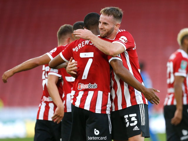 Sheffield United's Rhian Brewster celebrates his first goal against Carlisle in the EFL Cup on August 10, 2021