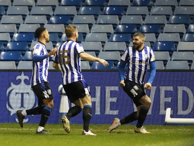 Callum Paterson celebrates his goal for Sheffield Wednesday against Derby County January 1, 2021
