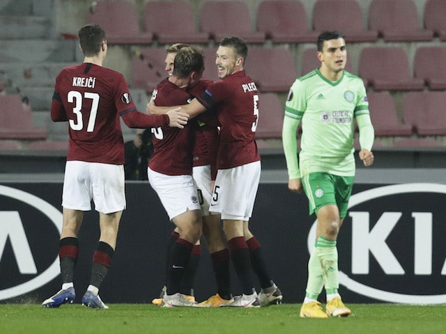 Lukas Julis from Sparta Prague celebrates his goal against Celtic in the Europa League on November 26, 2020