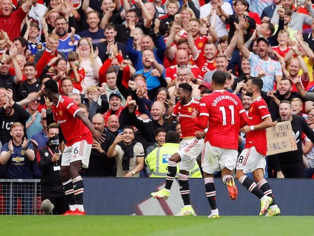 Manchester United's Fred celebrates his goal against Leeds United in the Premier League on August 14, 2021