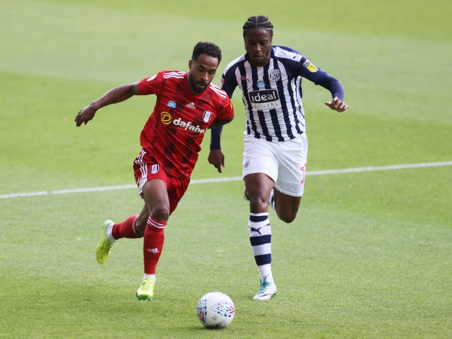 West Bromwich Albions Romaine Sawyers in action with Fulhams Denis Odoi on July 14, 2020