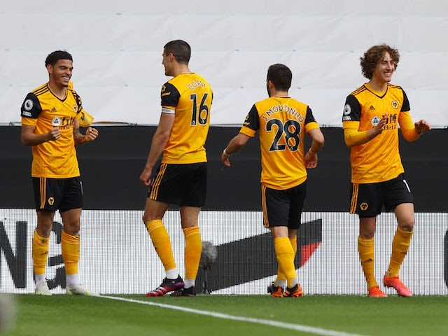 Wolverhampton Wanderers attacker Morgan Gibbs-White celebrates a goal against Brighton & Hove Albion on May 9, 2021