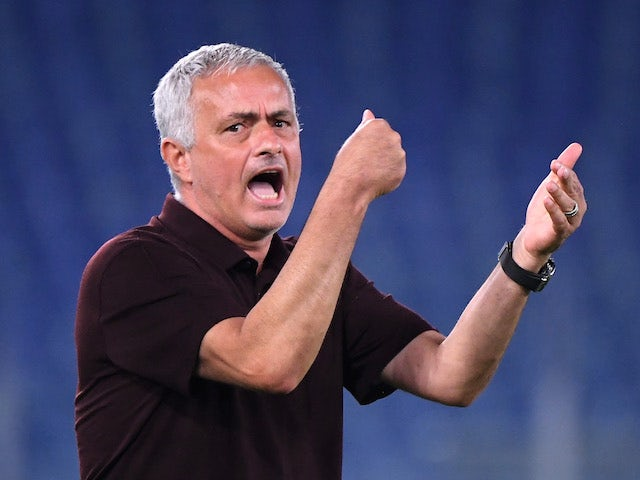 Roma coach Jose Mourinho pictured on September 12, 2021