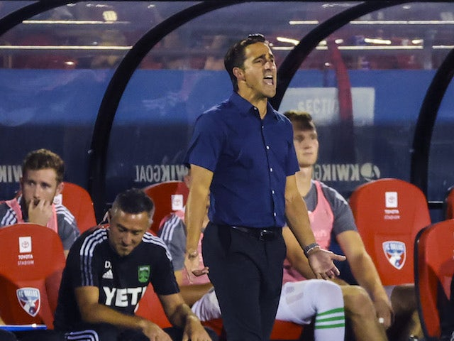 Austin FC head coach Josh Wolff reacts during the game against FC Dallas at Toyota Stadium on August 8, 2021