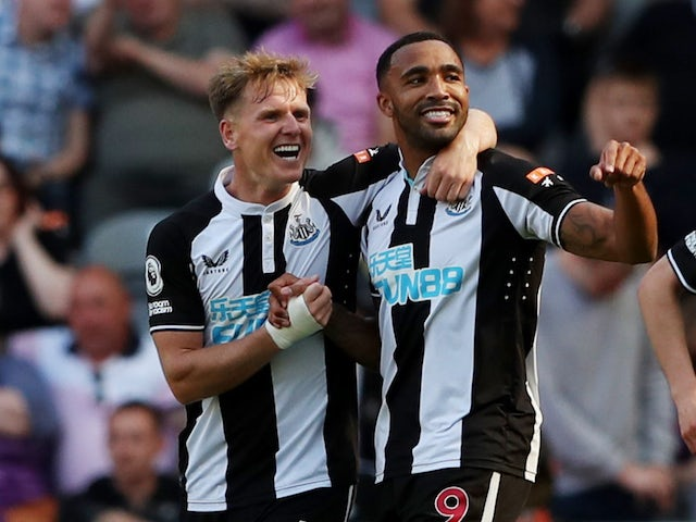 Newcastle United's Callum Wilson will celebrate his first goal with Matt Ritchie on August 28, 2021
