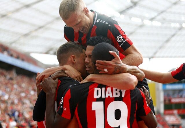Florian Wirtz and Moussa Diaby from Bayer Leverkusen will celebrate their first goal with their teammates on September 11, 2021