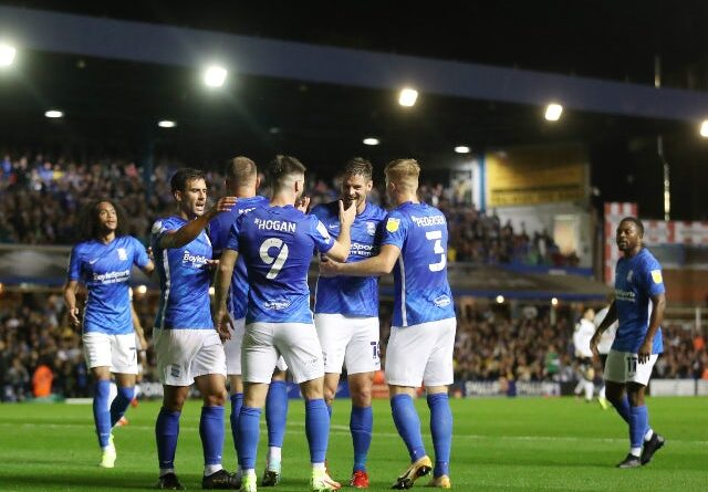 Birmingham City's Scott Hogan will celebrate his first goal in the championship against Derby County on September 10, 2021