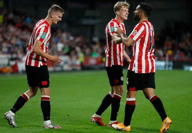 Brentford's Marcus Forss celebrates his fifth goal against Oldham in the EFL Cup on September 21, 2021