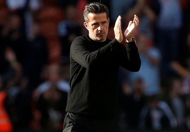 Fulham manager Marco Silva applauds the fans after the game on September 11, 2021