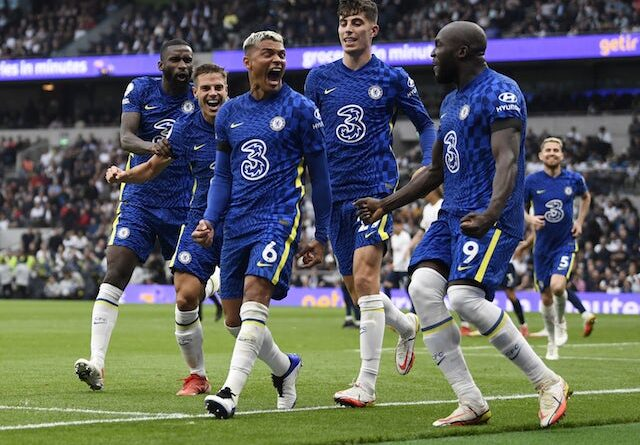 Chelsea's Thiago Silva celebrates his goal against Tottenham Hotspur on September 19, 2021