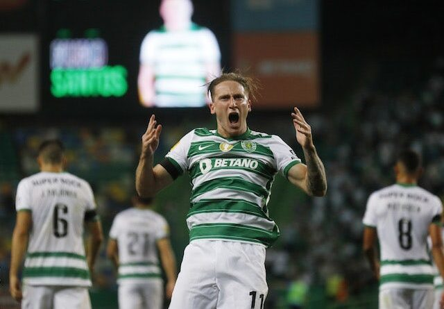 Sporting Lisbon's Nuno Santos will celebrate his first goal on September 11, 2021