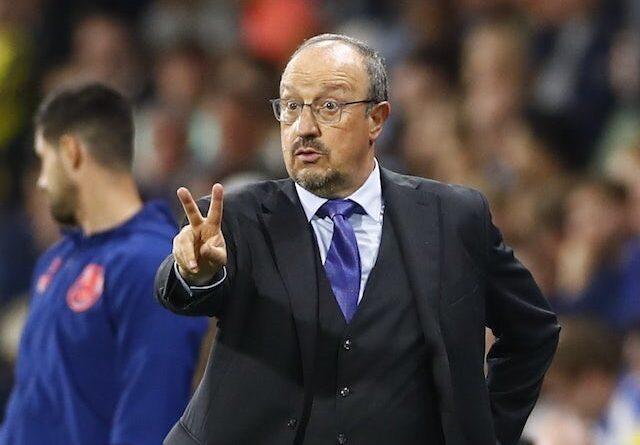 Everton coach Rafael Benitez reacts on August 24, 2021