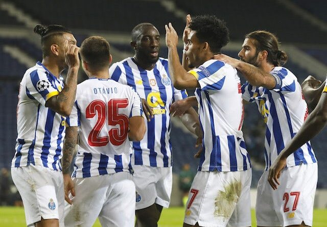 Porto players celebrate a goal against Marseille in the Champions League on November 3, 2020