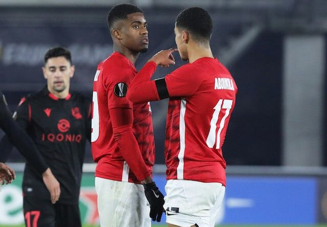 Zakaria Aboukhlal from AZ Alkmaar with teammate after the game in November 2020