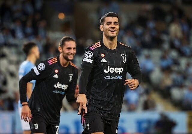 Juventus Alvaro Morata will celebrate their third goal on September 14, 2021