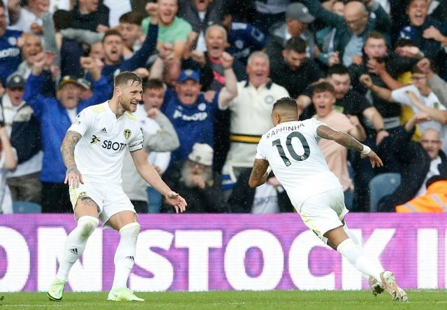 Leeds United's Raphinha will celebrate a Premier League goal against Everton on August 21, 2021