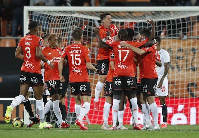 Armand Lauriente from Lorient will celebrate his first goal with his teammates on September 10, 2021