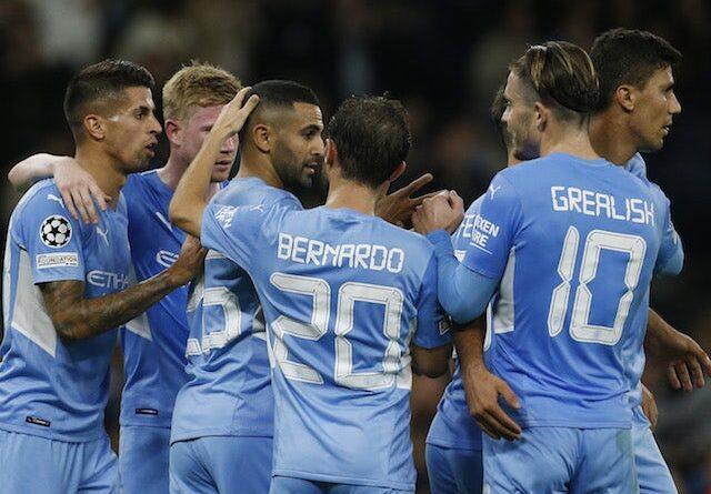Manchester City players celebrate Riyad Mahrez's goal against RB Leipzig on September 15, 2021