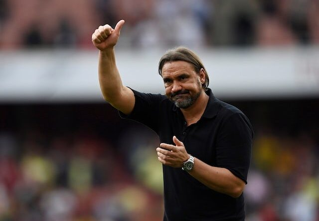 Norwich City manager Daniel Farke looks dejected after the September 11, 2021 game