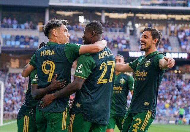 Portland Timbers striker Felipe Mora (9) celebrates his goal with striker Dairon Asprilla (27) against Minnesota United in the first half at Allianz Field on July 24, 2021