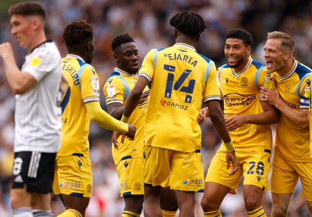 Readings Ovie Ejaria celebrates after scoring his first goal in the championship against Fulham on September 18, 2021