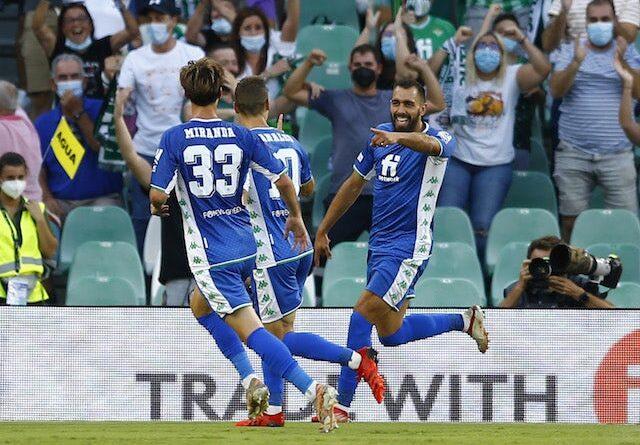 Real Betis's Borja Iglesias celebrates his goal against Celtic on September 16, 2021