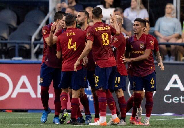 Real Salt Lake celebrates a penalty on June 24, 2021