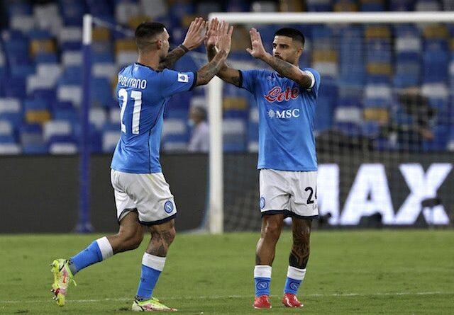 Napoli's Matteo Politano will celebrate his first goal with Lorenzo Insigne on September 11, 2021