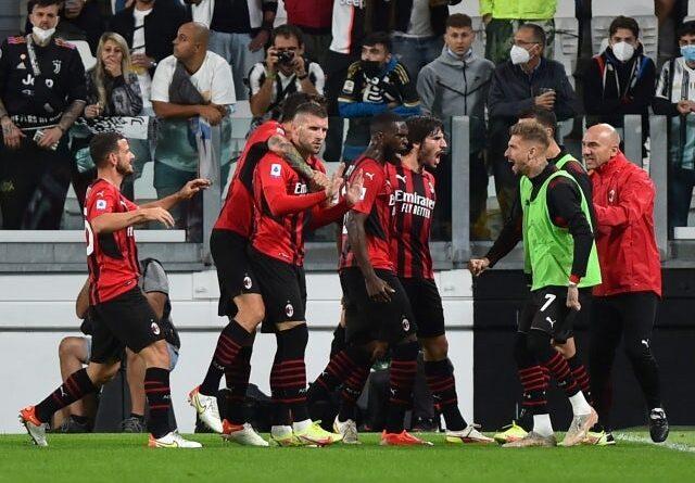 AC Milan's Ante Rebic celebrates his goal against Juventus Turin on September 19, 2021