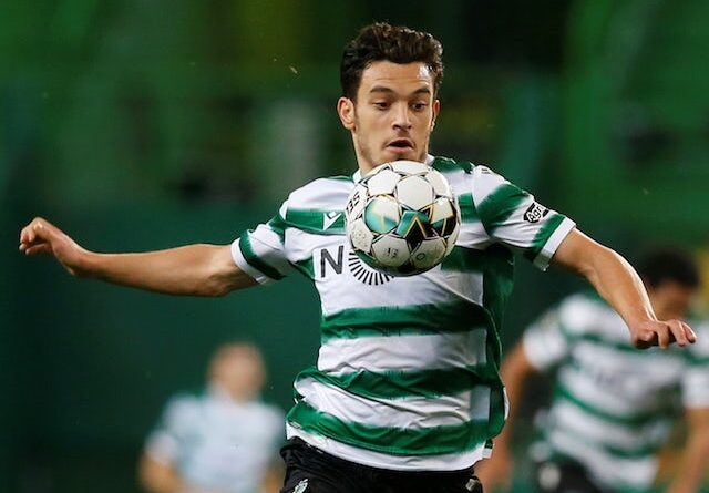 Sporting Lisbon's Pedro Goncalves in action on February 1, 2021