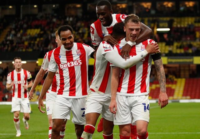 Stoke City's Josh Tymon celebrates his third goal against Watford in the EFL Cup on September 21, 2021