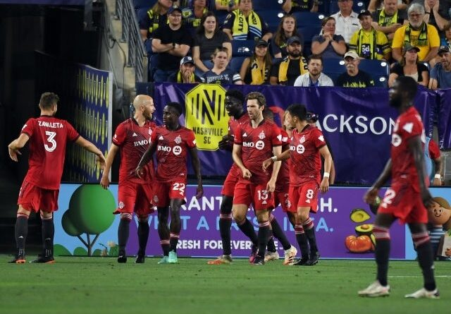 Toronto FC players celebrate after a goal from striker Patrick Mullins on June 24, 2021