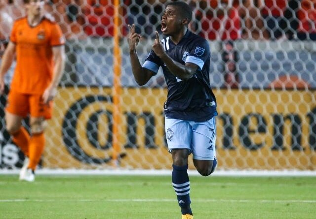 Vancouver Whitecaps FC striker Deiber Caicedo reacts after scoring on May 23, 2021