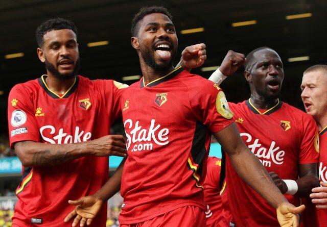 Watford's Emmanuel Dennis celebrates his first Premier League goal against Norwich City on September 18, 2021