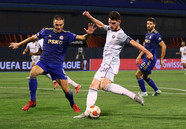 West Ham United's Declan Rice will face Dinamo Zagreb on September 16, 2021