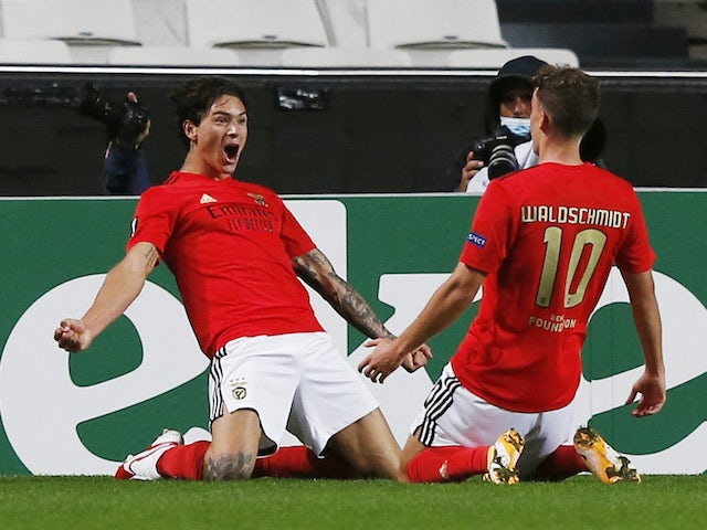 Benfica's Darwin Nunez celebrates with a teammate after his goal against Rangers on November 5, 2020