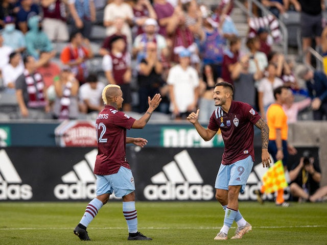 Colorado Rapids striker Michael Barrios (12) celebrates his goal with striker Andre Shinyashiki (9) in the second half against the Los Angeles Galaxy at Dick's Sporting Goods Park on September 11, 2021