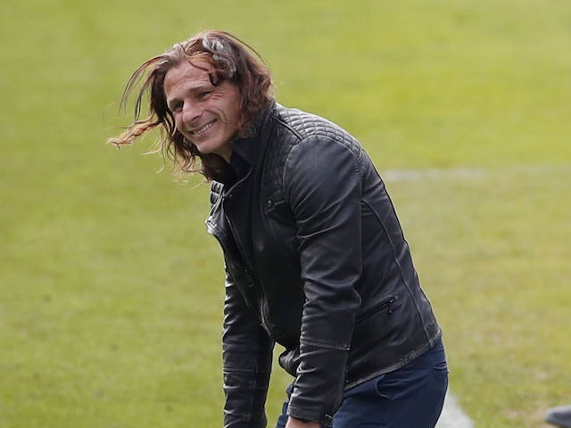 Wycombe Wanderers manager Gareth Ainsworth reacts after the game on May 1, 2021