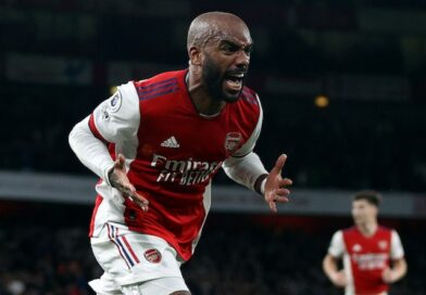 Arsenal's Alexandre Lacazette will celebrate his second goal on October 18, 2021